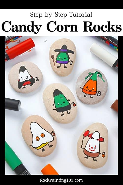 Easy Halloween Rock Painting Tutorial for Candy Corn Rocks dressed in their favorite costumes. Clown rock, Pumpkin rock, vampire rock, witch rock, ghost rock, monster rock.