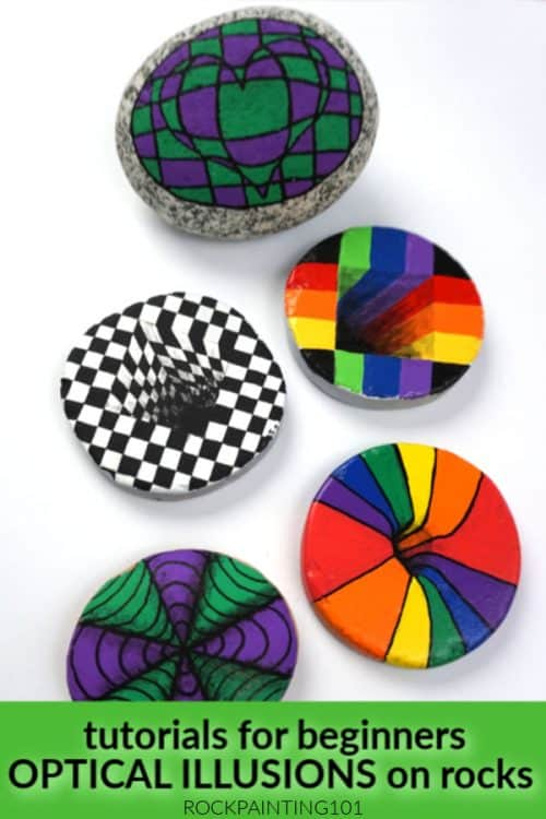 Learn how to make optical illusions on rocks with simple tutorials for beginners. #rockpainting101