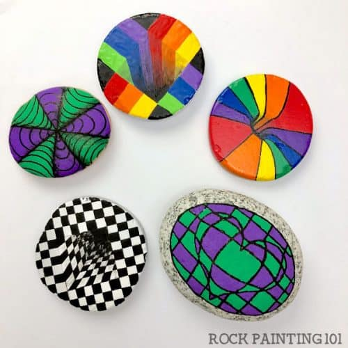 how to make optical illusions ON ROCKS. Rock painting ideas for beginners. #rockpainting101