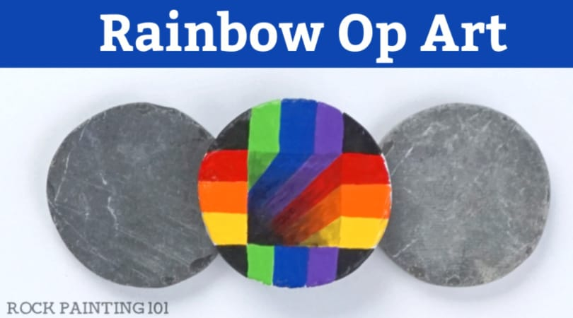 How to make rainbow op art on a rock