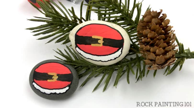 An easy Santa Rock Painting Idea