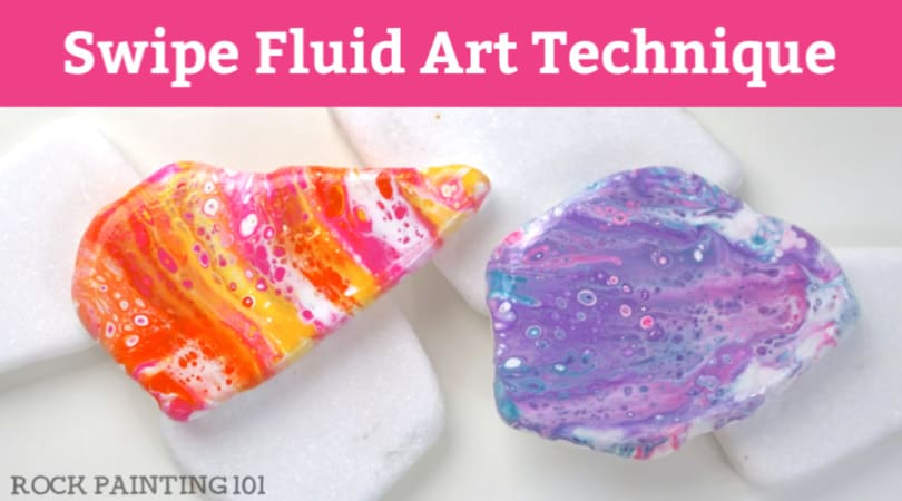 How to use the acrylic pour swipe method on rocks