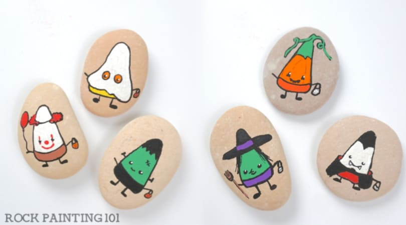 Fun Halloween Candy Corn Rocks