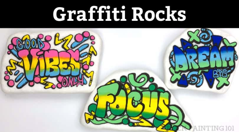 Graffiti inspired rock painting tutorial