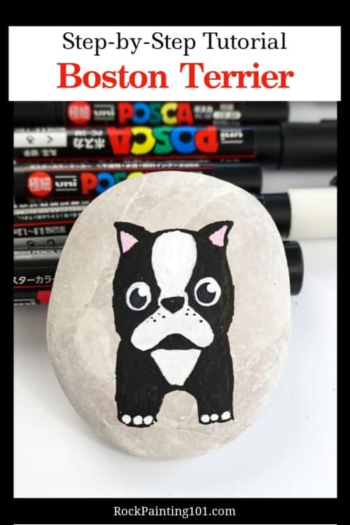 how to paint boston terrier onto rock