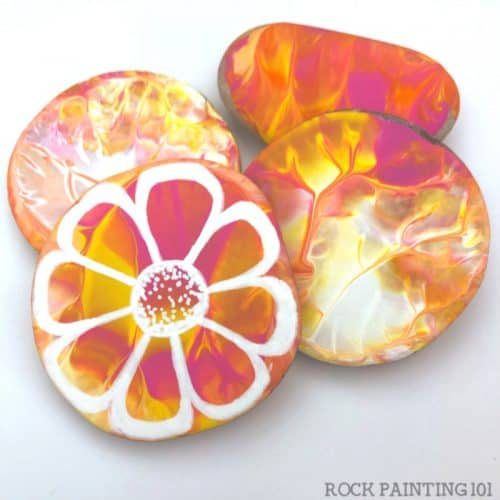 press painting on rocks