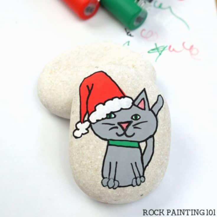 Learn to paint an adorable CHRISTMAS KITTY!