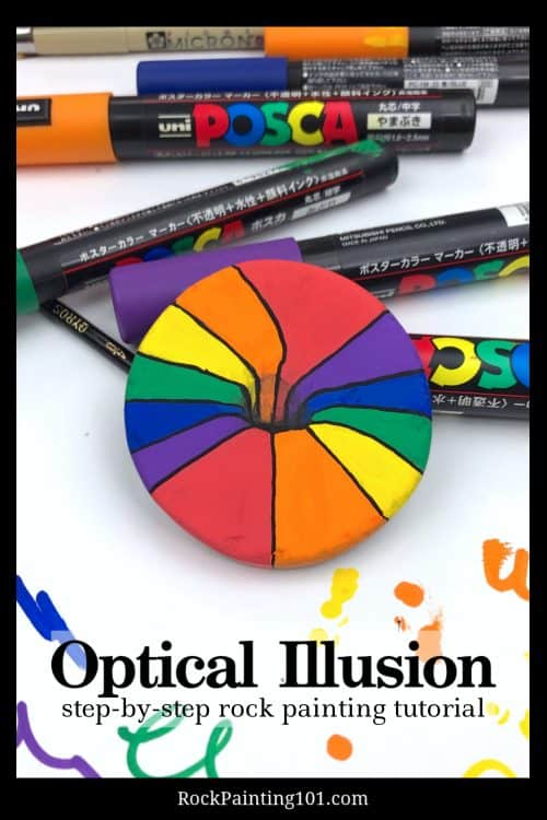 Are you ready to learn all about painting a rainbow optical illusion on rocks? This just might be one of the coolest illusions, ever! It's as simple as following along with the steps and watching the video below to get the hang of it in no time at all!