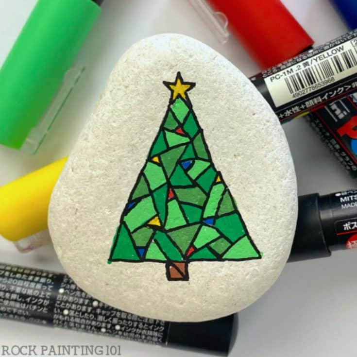 Mosaic Christmas Tree - Paint Pen Rock Painting Tutorial for Beginners