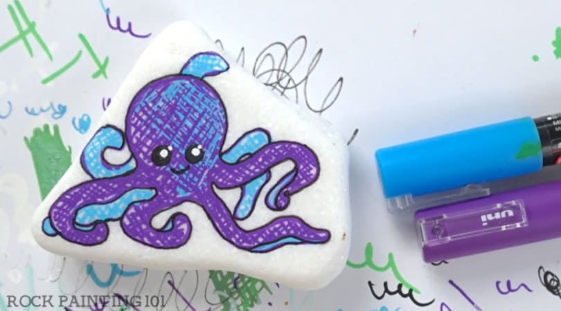 How to paint an octopus onto a rock