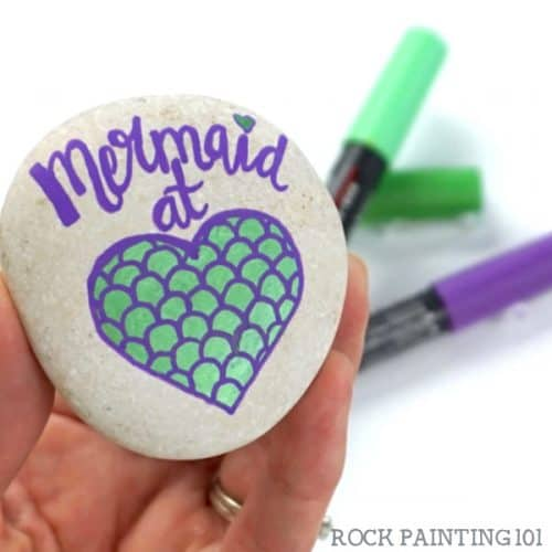 This mermaid rock painting idea is perfect for beginners. You don't have to paint the whole mermaid to create this fun painted rock!