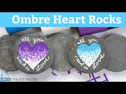 Ombre Pointillism Rock Painting Tutorial