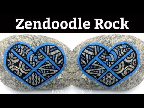 Zendoodle Heart Rock Painting Idea for Beginners