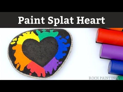 Paint Splat Rainbow Heart Rock