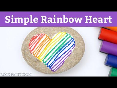 Simple Striped Rainbow Heart