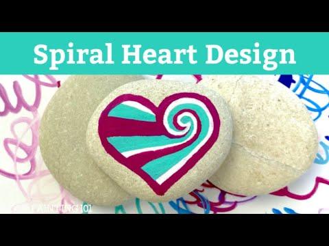 Spiral Heart Rock Painting Tutorial