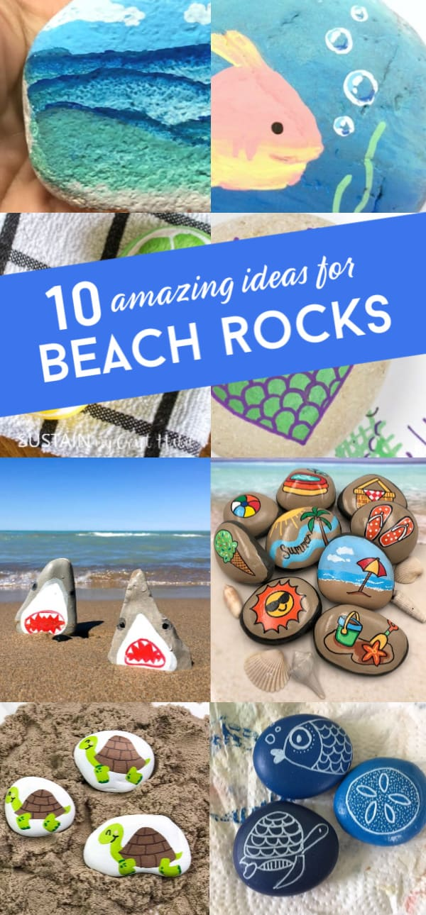 These beach painted rocks are great for summer rock painting. From sea shells to beach animals, there is something for everyone. #rockpainting101 #beachrocks #summer
