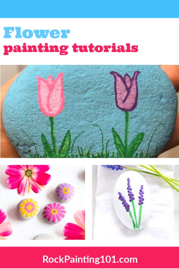 These flower rock painting tutorials will make you smile. Find tutorials for beautiful flower painted rocks that are perfect for spring. #rockpainting101 #flowerrocks #springpaintedrocks