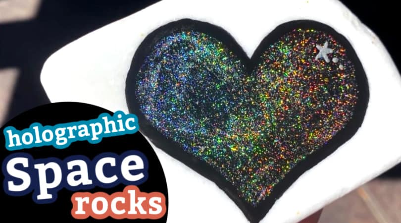 How to make space rocks with holographic acrylic paint