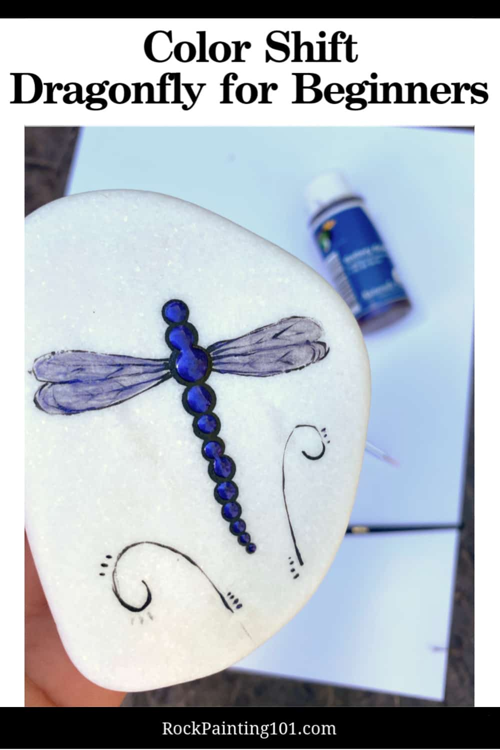 In today's tutorial we are teaching you how to paint dragonfly rocks. This tutorial is perfect for the rock painting beginner and features a beautiful color shift paint from Naturalis Paint that really makes these dragonflies sparkle! #rockpainting101 #drqagonfly #colorshif