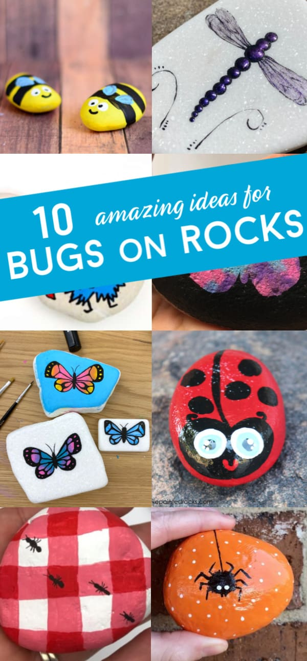 Learn how to paint bugs onto rocks with these fun insect rock painting ideas. From butterflies to ladybugs. There is a bug rock painting idea that perfect for every skill level. #rockpainting101 #bugs #insects