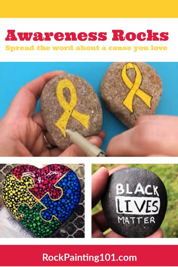 Use your rock painting skills to spread awareness about causes that are important to you. Painted rocks make great gifts for volunteers or visitors to your event. #rockpainting101