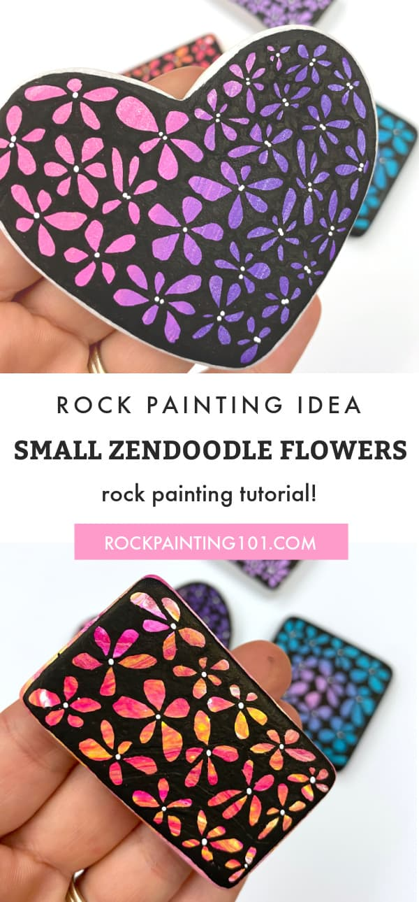 Create beautiful zendoodle style flower painted rocks with this step by step tutorial. Use this rock painting idea to decorate, give as gifts, or hide around your city. #rockpainting101 #zendoodle #flowers #paintedrocks