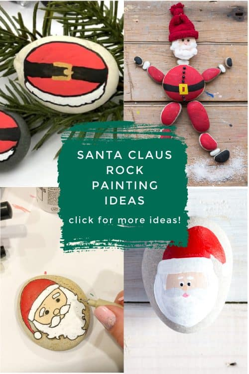 These Santa painted rocks are so perfect for your Christmas crafting. Use them to decorate your holiday table, give as gifts, or hide around the city. #rockpainting101 #christmas #santaclaus #paintedrocks