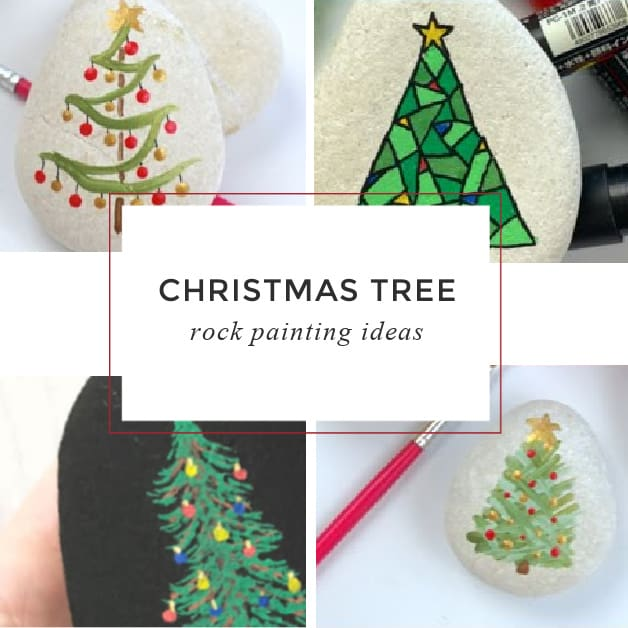 9 Christmas trees painted on rocks