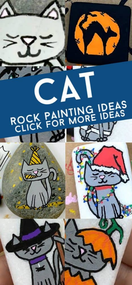 Create these easycat rock painting ideas for any season! From a festive holiday cat to a simple design, there is a painted rock for everyone!