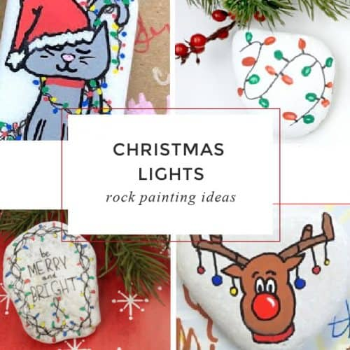 These Christmas lights painted on rocks are perfect for your holiday rock painting. Use them to decorate your Christmas table, give them as stocking stuffers, or hide them around your neighborhood.