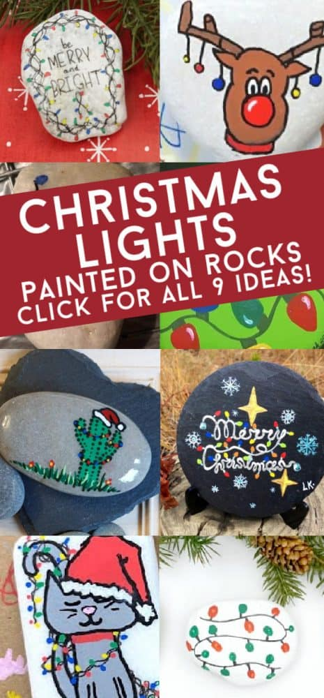 These Christmas lights painted on rocks are perfect for your holiday rock painting. Use them to decorate your Christmas table, give them as stocking stuffers, or hide them around your neighborhood. #rockpainting101 #christmaslights #christmas #paintedrocks
