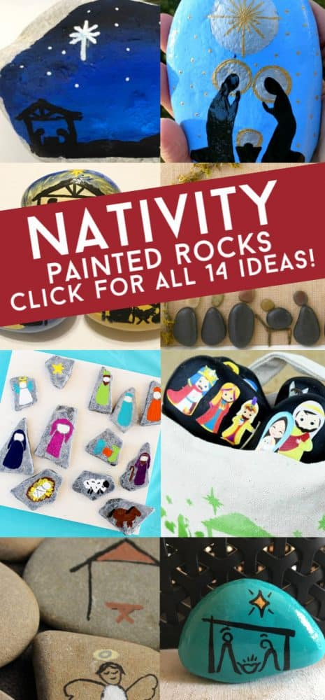 These nativity painted rocks are perfect for your Christmas rock painting. Use them to decorate your holiday table, use them as stocking stuffers, or hide around the city. #rockpainting101 #nativity #paintedrocks