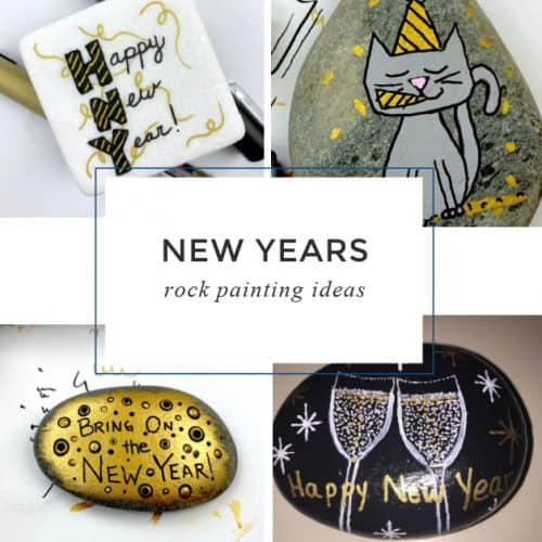 TheseNew Year's painted rocks are perfect for ringing in the new year! Use them as gifts at your New Year's Eve party, hide them around town, or decorate your home with them!