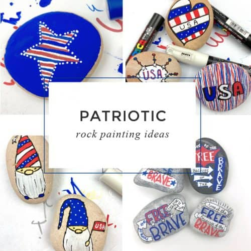 Show your pride with these easy patriotic painted rocks. Each tutorial will help you create the perfect rocks for the 4th of July, Memorial Day, Veterans Day, or any other time you want to show off your national pride. Hide them in your town or give them to your favorite Vet.  #patriotic #4thofjuly #memorialday #paintedrocks #rockpainting101
