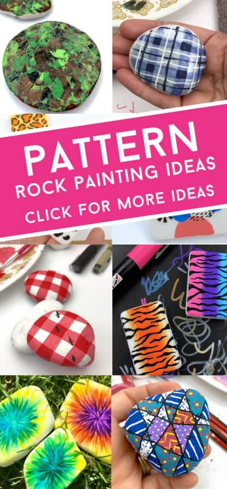"""Images of patterns painted on rocks. Text reads: """"Pattern Rock Painting Ideas"""""""