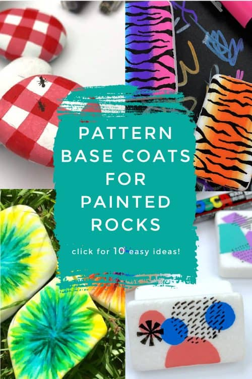 """Images of patterns painted on rocks. Text reads: """"Pattern Base Coats"""""""