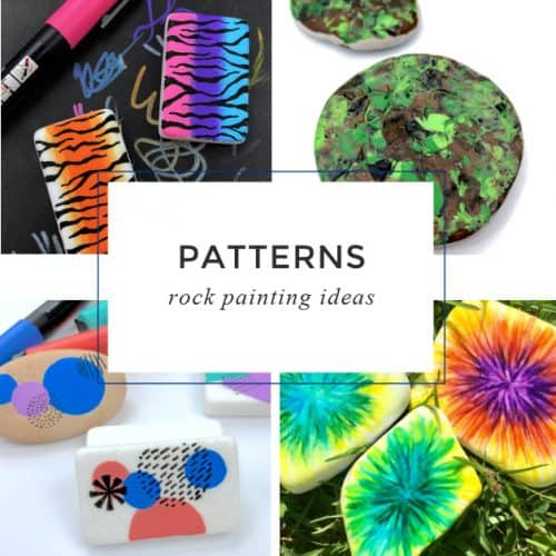 """Images of patterns painted on rocks. Text reads: """"Patterns rock painting ideas"""""""