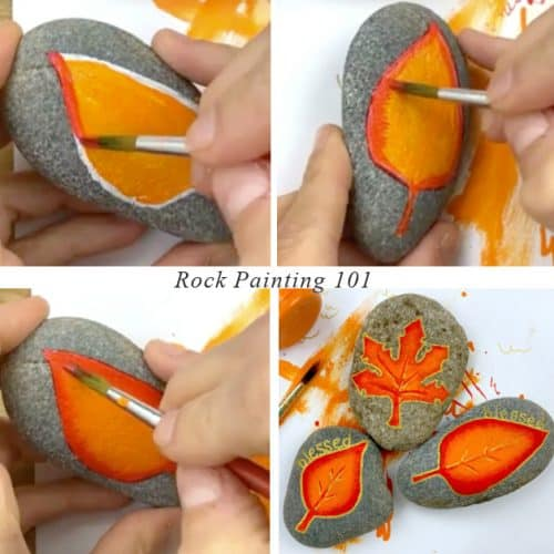Blended acrylic paint autumn leaves tutorial step by step