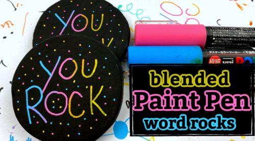 blended paint pen word rocks