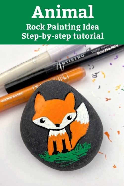 Animal rocks fox painting