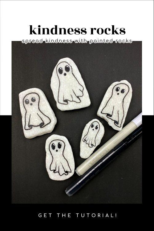 Simple ghost kindness rocks painting idea