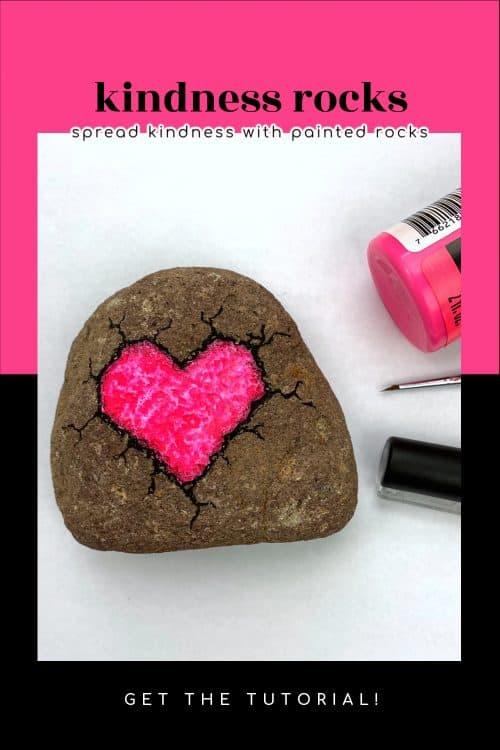 kindness rock painting broken heart rock