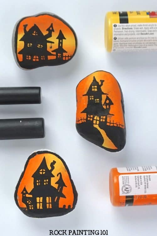 How to paint haunted house silhouettes step by step