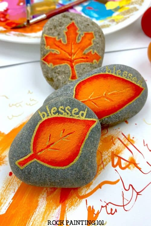 Blended acrylic paint autumn leaves tutorial fall rock painting
