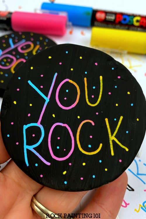 blended paint pen lettered word rocks