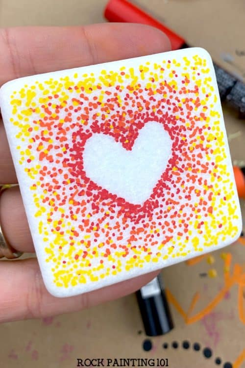 fall rock painting idea pointillism heart design