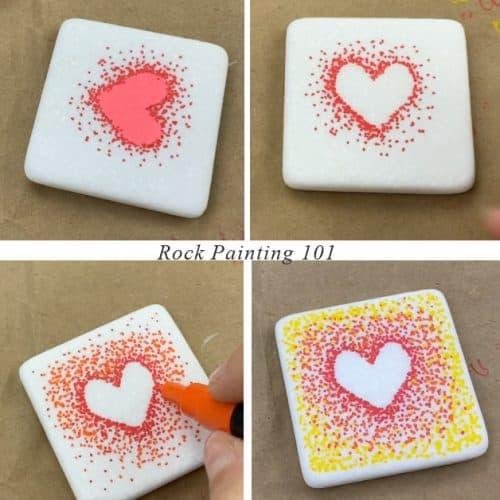 4 steps tutorial pointillism heart design for fall