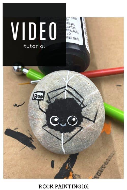 Cute Spider Painted Rock-Black Video Tutorial