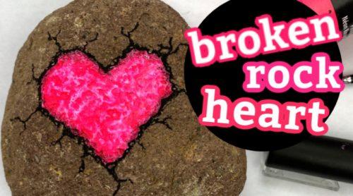 how to paint a broken rock heart